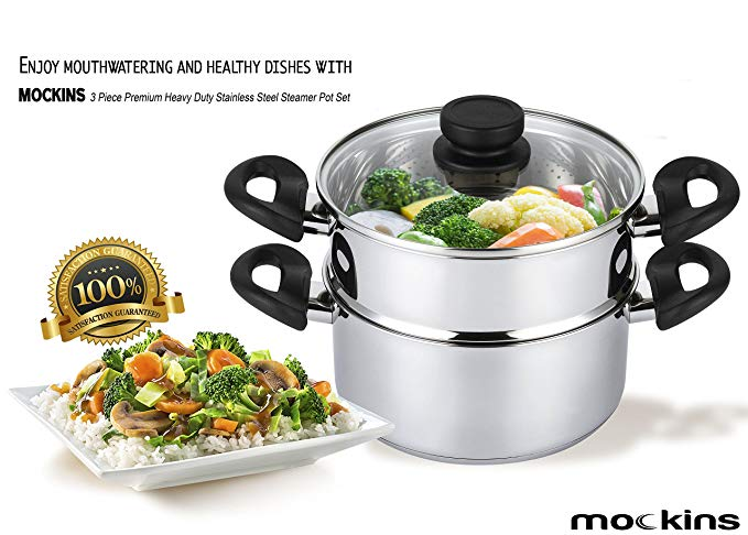 mockins 3 Piece Premium Heavy Duty Stainless Steel Steamer Pot Set - Vegetable Steamers