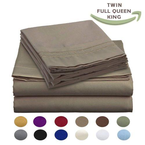 Luxury Egyptian Comfort Wrinkle Free 1800 Thread Count 6 Piece Queen Size Sheet Set, MOCHA Color, 2 Bonus Pillowcases FREE!