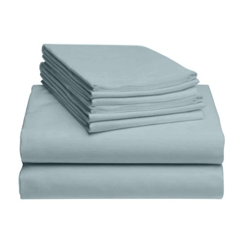 """LuxClub 6 PC Sheet Set Bamboo Sheets Deep Pockets 18"""" Eco Friendly Wrinkle Free Sheets Hypoallergenic Anti-Bacteria Machine Washable Hotel Bedding Silky Soft - Light Teal Queen"""