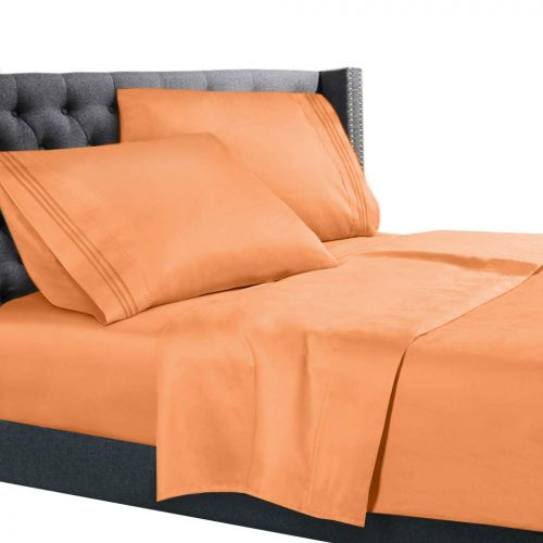 Nestl Bedding Hypoallergenic & Wrinkle Free Bedroom Linen Bed Sheet Set, Queen Size. Apricot Buff Orange