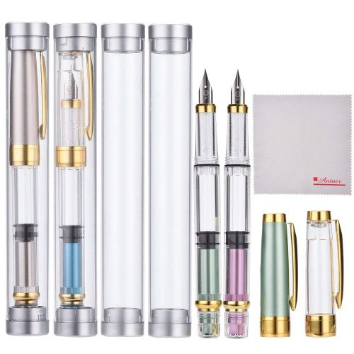 Wing Sung 3008 Thin Piston Fountain Pen Set of 4 Pieces in 4 Colors