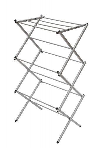 "STORAGE MANIAC 3-tier Folding Anti-Rust Compact Steel Clothes Drying Rack - 22.44""x14.57""x41.34"""