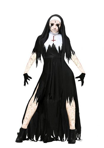 FunCostumes Womens Dreadful Nun Plus Size Black Costume