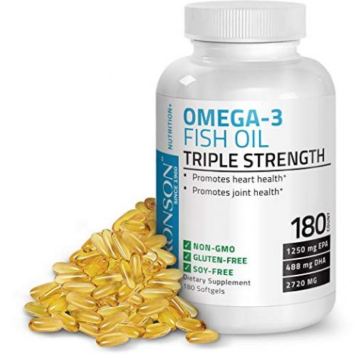 ronson Omega 3 Fish Oil Triple Strength 2720 mg, Non-GMO, Gluten Free, Soy Free, Heavy Metal Tested, 1250 EPA 488 DHA, 180 Softgels