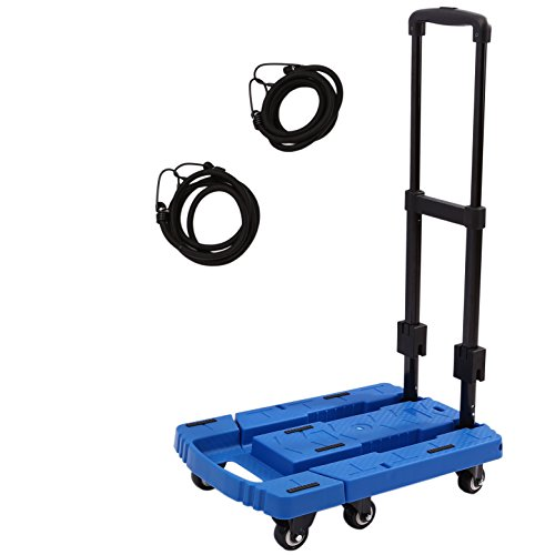 Folding Luggage Cart Portable Hand Truck 440lbs 360° Rotate Wheel - Luggage carts