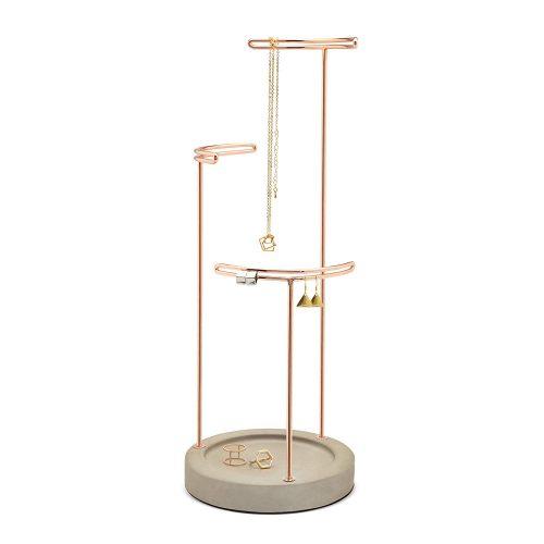 Umbra Tesora – Jewelry Organizer/Copper Jewelry Stand with Concrete Base - jewelry stands
