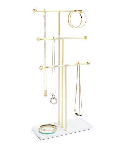 Umbra Trigem Hanging Jewelry Organizer – 3 Tier Extra Tall - jewelry stands