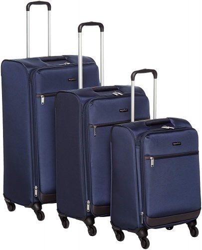"""AmazonBasics Softside Spinner Luggage - 3 Piece Set (21"""", 25"""", 29""""), Navy Blue - luggage sets"""