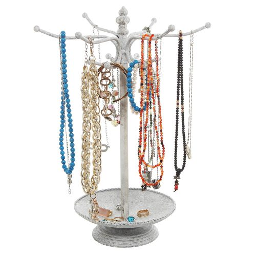 Vintage Style Whitewashed Metal 12 Hook Jewelry Organizer - jewelry stands