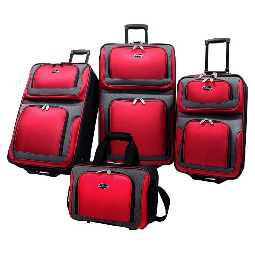 U.S Traveler New Yorker Expandable Rolling Luggage– Red - luggage sets