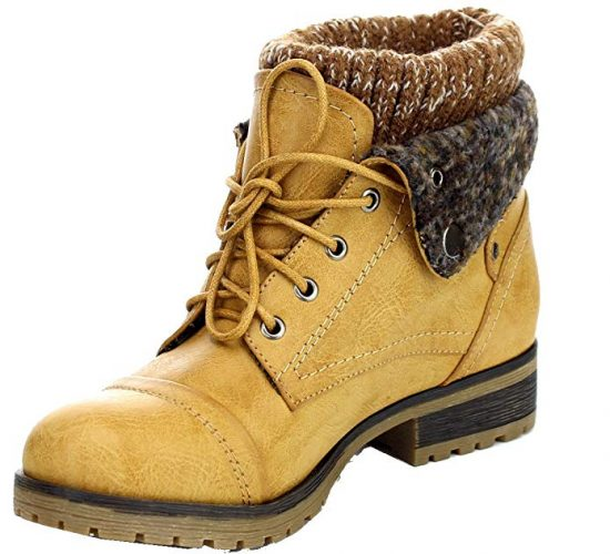 Refresh WYNNE-01 Women's combat style lace up ankle bootie - Combat Boots For Women
