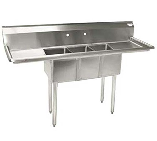 BK Resources 3-Compartment Sink - Drainboard Sink