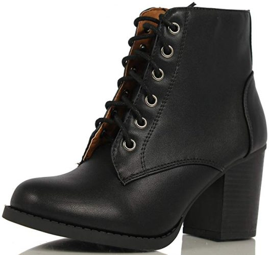 Soda Women's Korman Faux Leather High Chunky Heel Ankle Booties - Combat Boots For Women