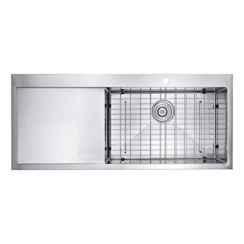 "BAI 1232-48"" Handmade Stainless Steel Kitchen Sink - Drainboard Sink"