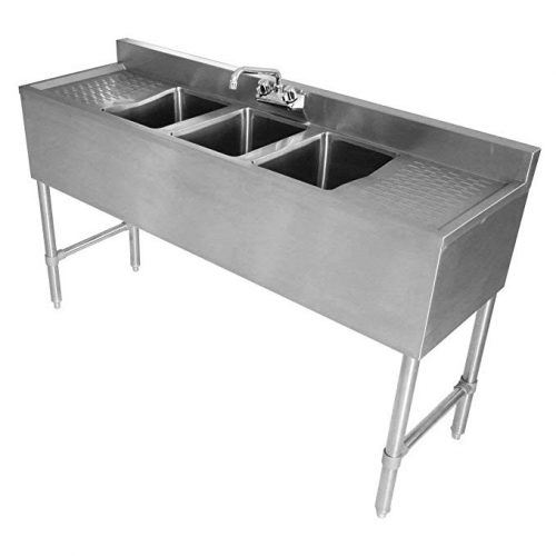 DuraSteel 3 Compartment Stainless Steel Bar Sink - Drainboard Sink