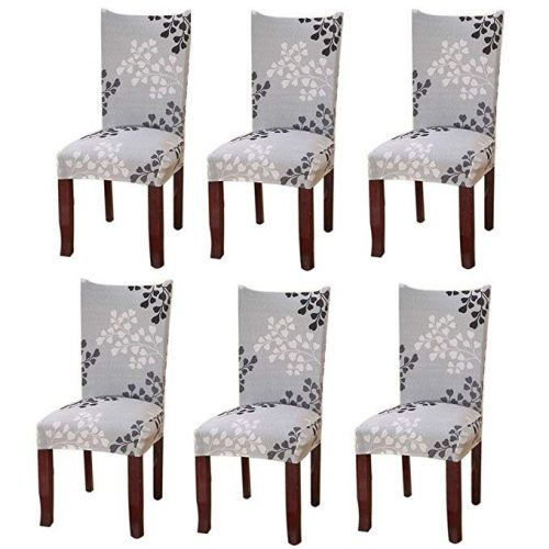 Fuloon Super Fit Stretch Removable Washable Short Chair Protector - Dining Chair Seat Covers
