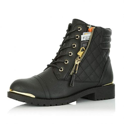 DailyShoes Women's Military Lace Up Buckle Combat Boots - Combat Boots For Women