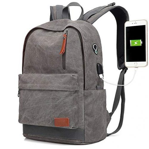 Canvas Laptop Backpack, Waterproof School Backpack With USB Charging Port - College Backpacks For Men And Women
