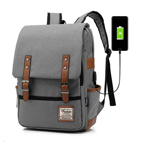 Feskin Fashion Travel Bag Vintage Business Work Computer - College Backpacks For Men And Women