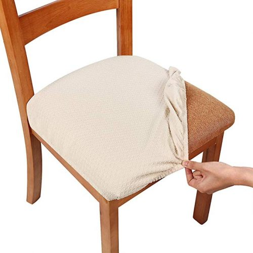 Smiry Stretch Spandex Jacquard Dining Room Chair Seat Covers - Dining Chair Seat Covers