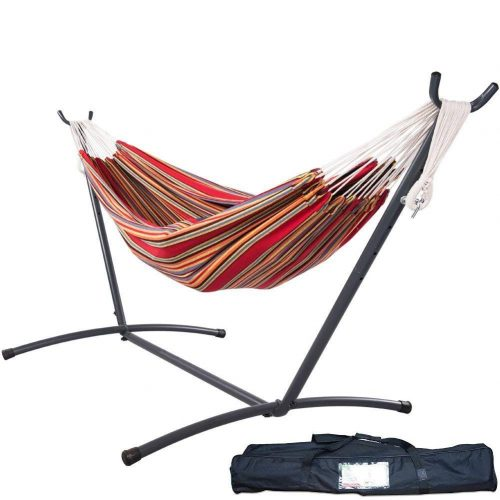Lazy Daze Hammocks Double Hammock with Space-Saving Steel Stand Includes Portable Carrying Case and Head Pillow, 450 Pounds Capacity (Techno)
