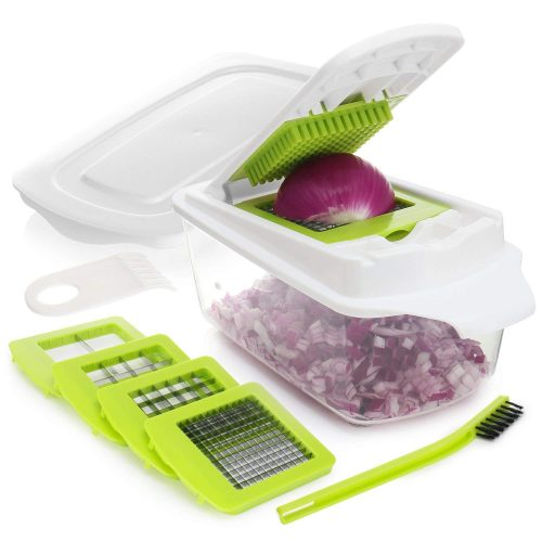 Onion Chopper Pro Vegetable Chopper Slicer Dicer Cutter - Strongest 80% Heavier Duty 200% More Container Capacity - Cheese & Veggie Chopper - Food Chopper Dicer with 4 Blades & Keep-Fresh Lid by Zalik