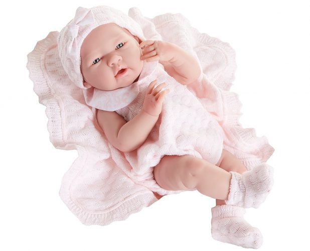 "JC Toys La Newborn Pretty in Pink Knit Blanket Gift Set. Realistic 15"" Anatomically Correct Real Girl Baby Doll – All Vinyl Designed by Berenguer – Made in Spain"