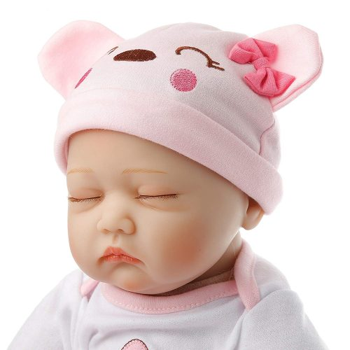 SanyDoll Reborn Baby Doll vinyl 22inch 55cm Lovely Lifelike Cute Toy Pink sleeping baby doll