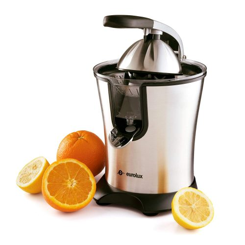 Eurolux Electric Orange Juicer Squeezer, Stainless Steel 160 Watts of Power Soft Grip, Handle and Cone Lid for Easy Use