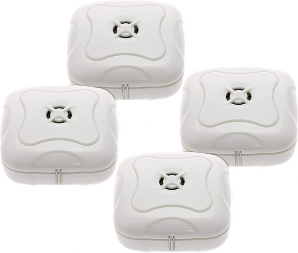 4 (four) Pack Water Leak Detector Basements Kitchens Mindful Design (White) - water leak detectors