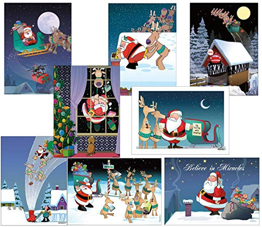 Box Set of 24 Assorted Funny Christmas Cards by Stonehouse Collection - Christmas Greeting Cards