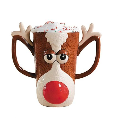 Reindeer Face Holiday Mug w/ Red Nose and Antlers by FE - Christmas Mugs