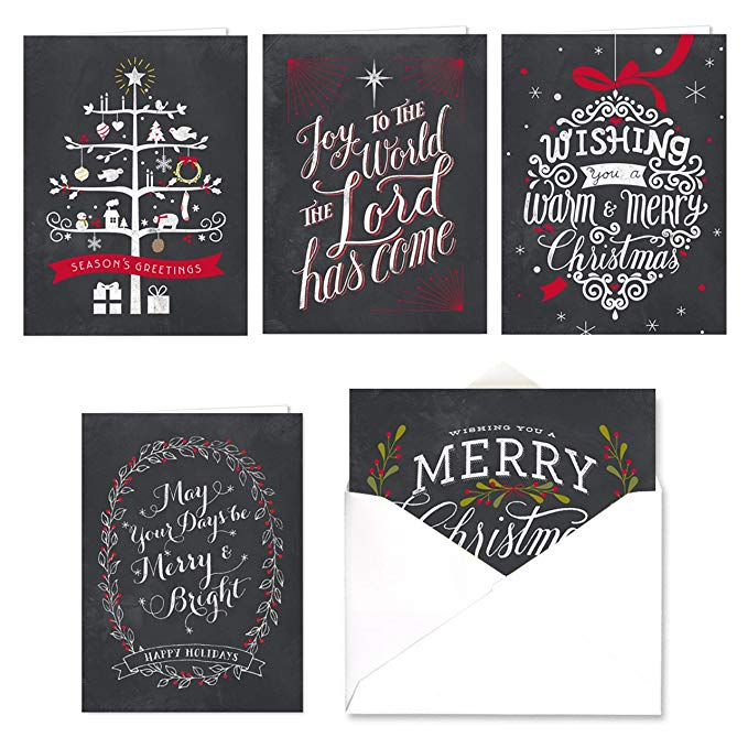 Celebrate the Season Chalkboard Christmas Card Assortment Pack - Christmas Greeting Cards