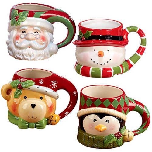 "Certified International""Santa, Snowman, Penguin & Bear"" 3D Figural Mugs  - Christmas Mugs"