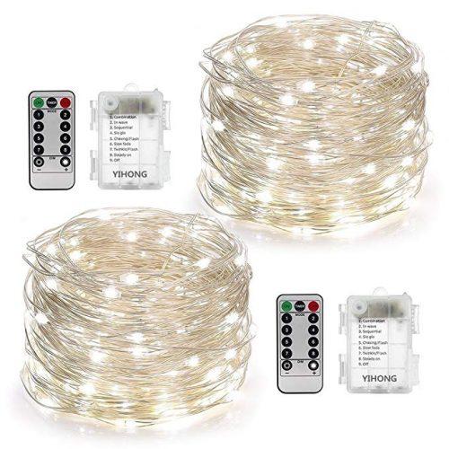 YIHONG 2 Set String Lights 8 Modes 50LED Fairy Lights- LED String Lights for Christmas