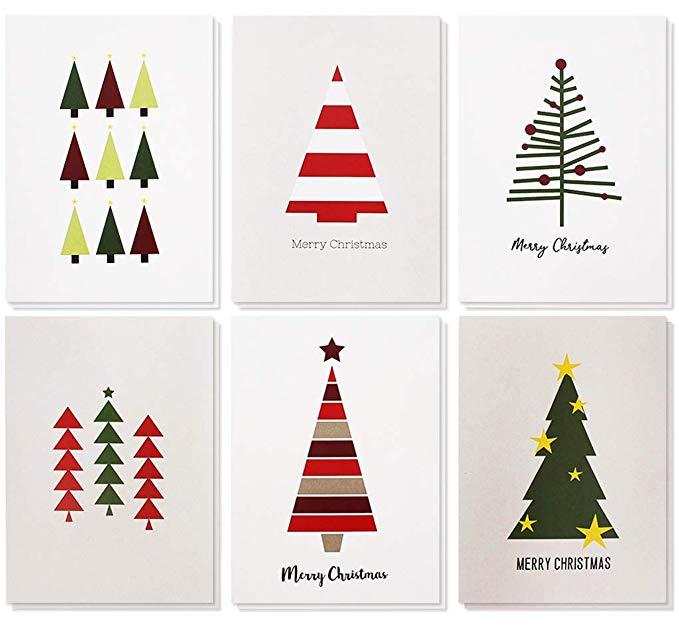 Merry Christmas Greeting Cards Bulk Box Set - Winter Holiday Xmas Greeting Cards - Christmas Greeting Cards