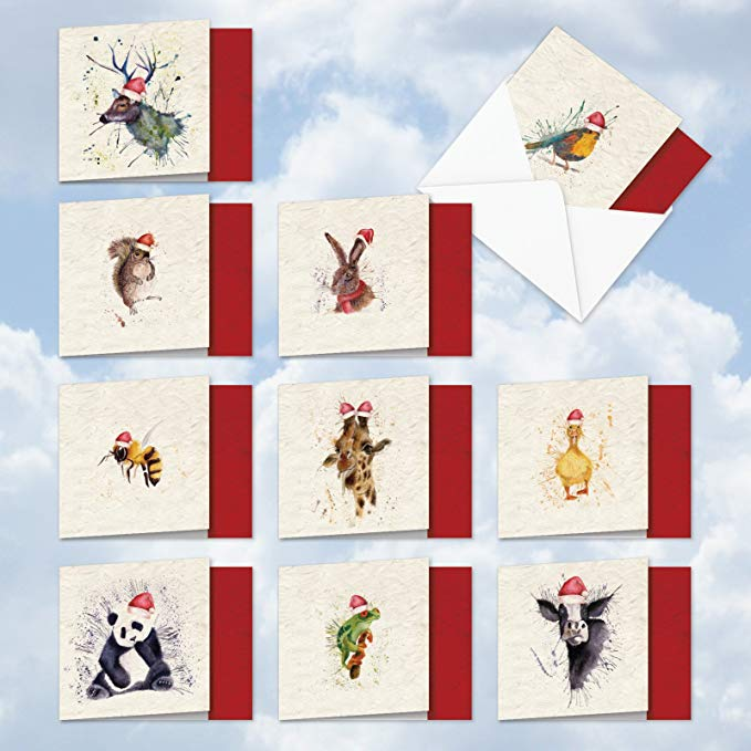 oliday Thank You Cards Featuring Water coloured Animals - Christmas Greeting Cards