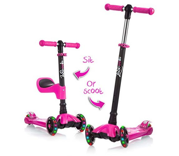 LaScoota 2-in-1 Kick Scooter with Removable Seat - 3 Wheel Scooters