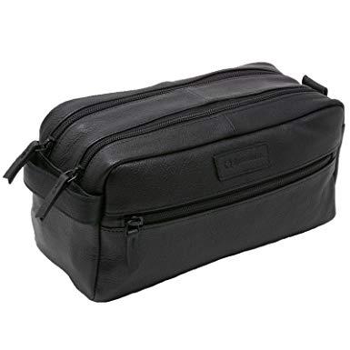 Image result for Alpine Swiss Sedona Toiletry Bag Genuine Leather Shaving Kit Dopp Kit Travel Case - Men Toiletry Bags