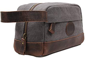 Image result for MSG Vintage Leather Canvas Travel Toiletry Bag Shaving Dopp Kit #A001 (Grey) - Men Toiletry Bags