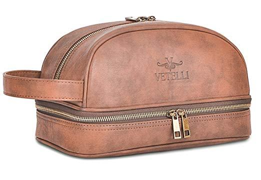 Vetelli Leather Toiletry Bag For Men (Dopp Kit) with free Travel Bottles - Men Toiletry Bags