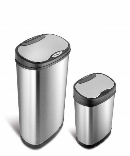 NINE STARS CB-DZT-50-13/12-13 Automatic Touchless Infrared Motion Sensor Trash Can Combo Set, 13 Gal 50L & 3 Gal 12L, Stainless Steel Base (Oval, Silver/Black Lid)