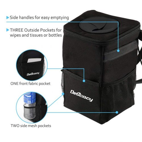 Delicacy Car Trash Can, Waterproof Odor Blocking Car Trash Bag with 3 Storage Pockets, Auto Litter Garbage Bag, Black
