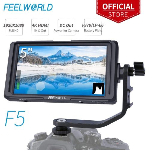 FEELWORLD F5 5 inch DSLR On-Camera Field Monitor Small Full HD 1920x1080 IPS Video Peaking Focus Assist with 4K HDMI 8.4V DC Input Output Include Tilt Arm
