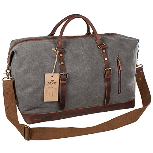 S-ZONE Canvas Genuine Leather Travel Tote Duffel Shoulder Weekend Bag - Weekender bag for men