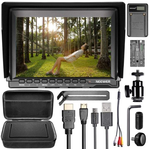 Neewer NW759 Camera Field Monitor Kit: 7 inches Ultra HD 1280x800 IPS Screen Field Monitor+F550 Replacement Battery+Micro USB Battery Charger+Carrying Case for Sony Canon Nikon Olympus Pentax Panasonic