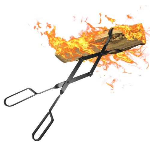 "AMAGABELI GARDEN & HOME Fireplace 26"" Heavy Duty Indoor Firewood Tongs Wrought Iron Claw Grabber for Wood Stove Outdoor Long Logs Tweezers Pit Campfire Fire Place Tools Accessories"