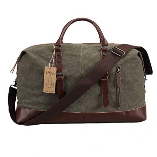 Canvas Overnight Bag Duffel Leather Weekender Tote - Weekender bag for men
