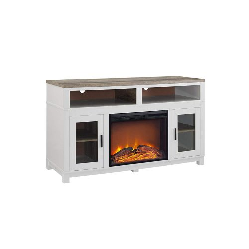 """Ameriwood Home Carver Electric Fireplace TV Stand for TVs up to 60"""" Wide, White"""