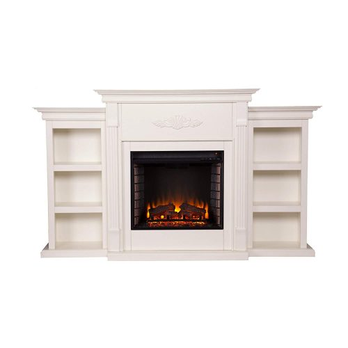 Southern Enterprises Tennyson Electric Fireplace with Bookcase, Ivory Finish -Electric Fireplaces